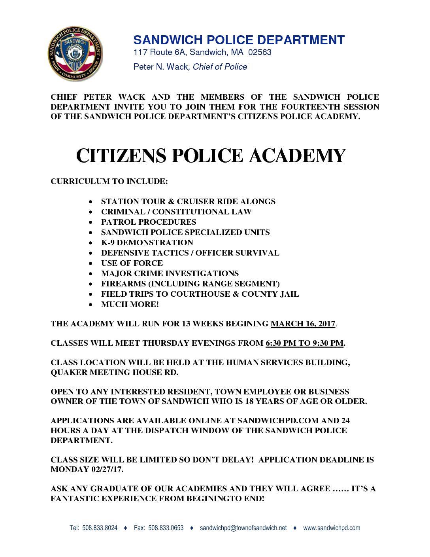 Citizen's Police Academy – 2017